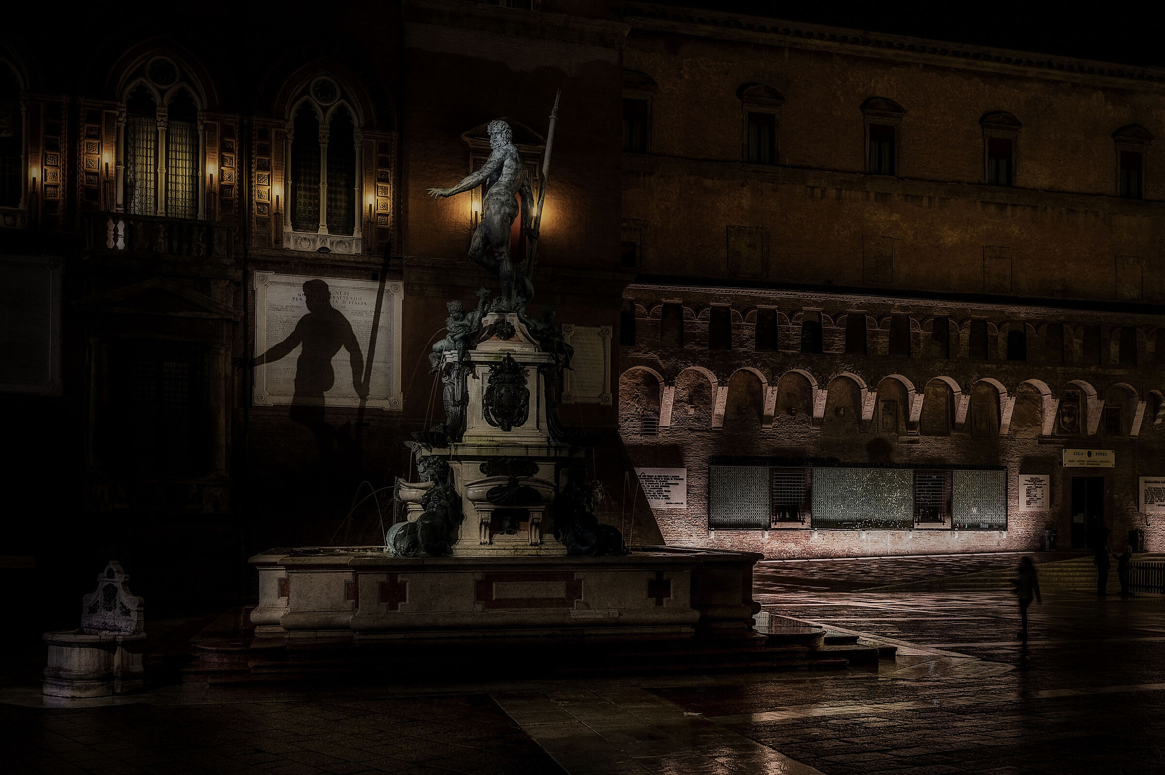 At the foot of the Giant. Piazza del Nettuno, Bologna...