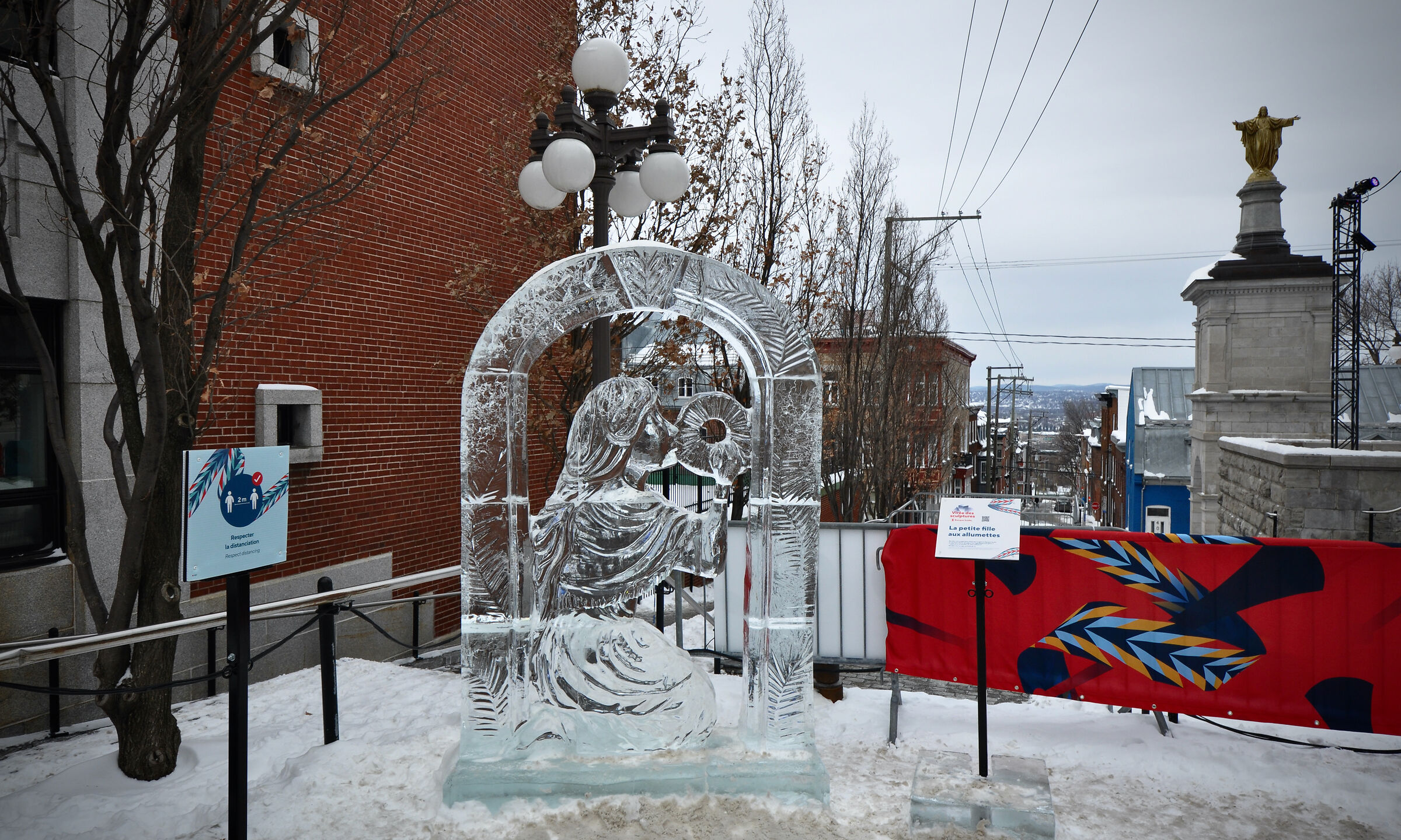 Ice monument, the little match girl-Quebec City...