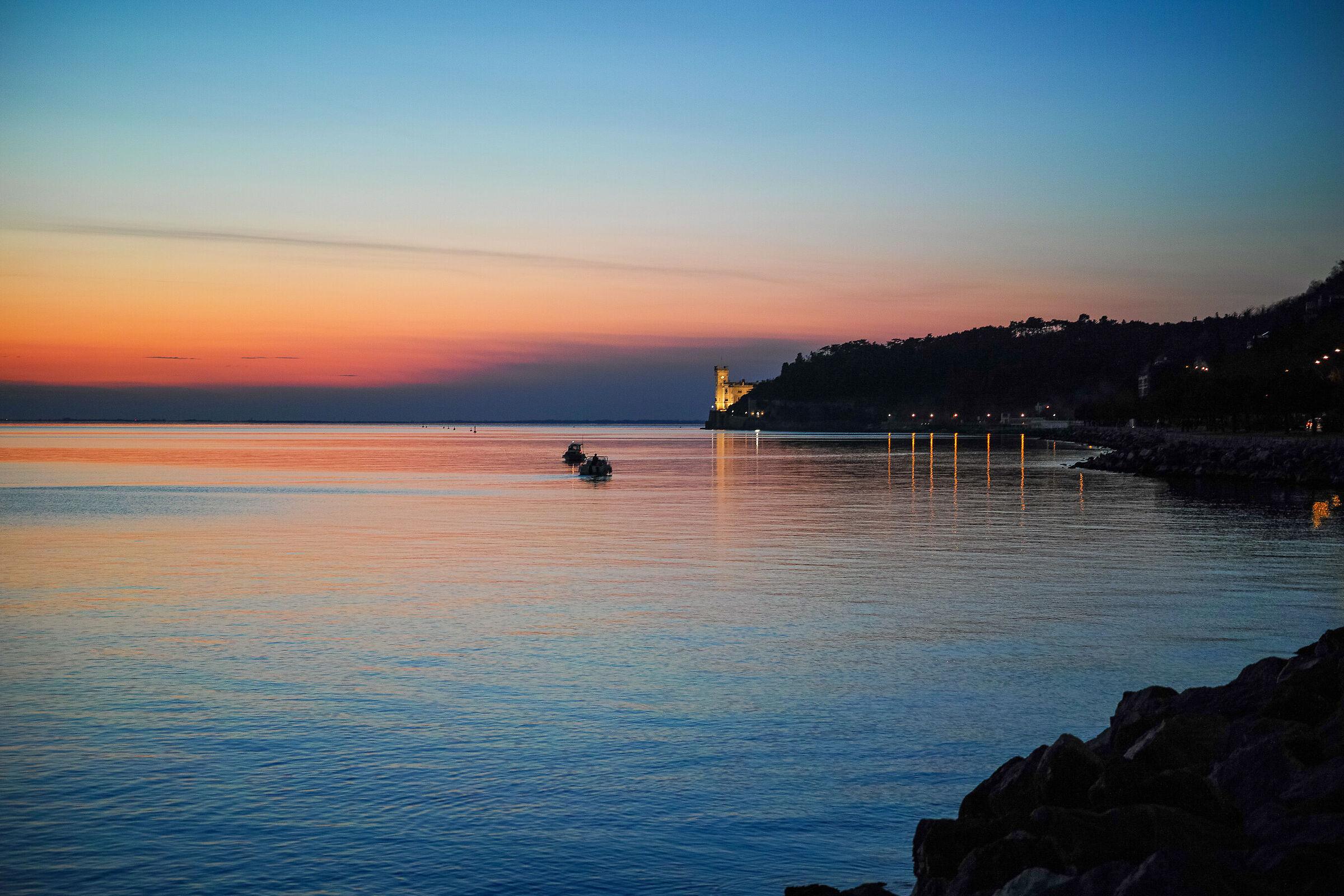 Miramare Castle at sunset...