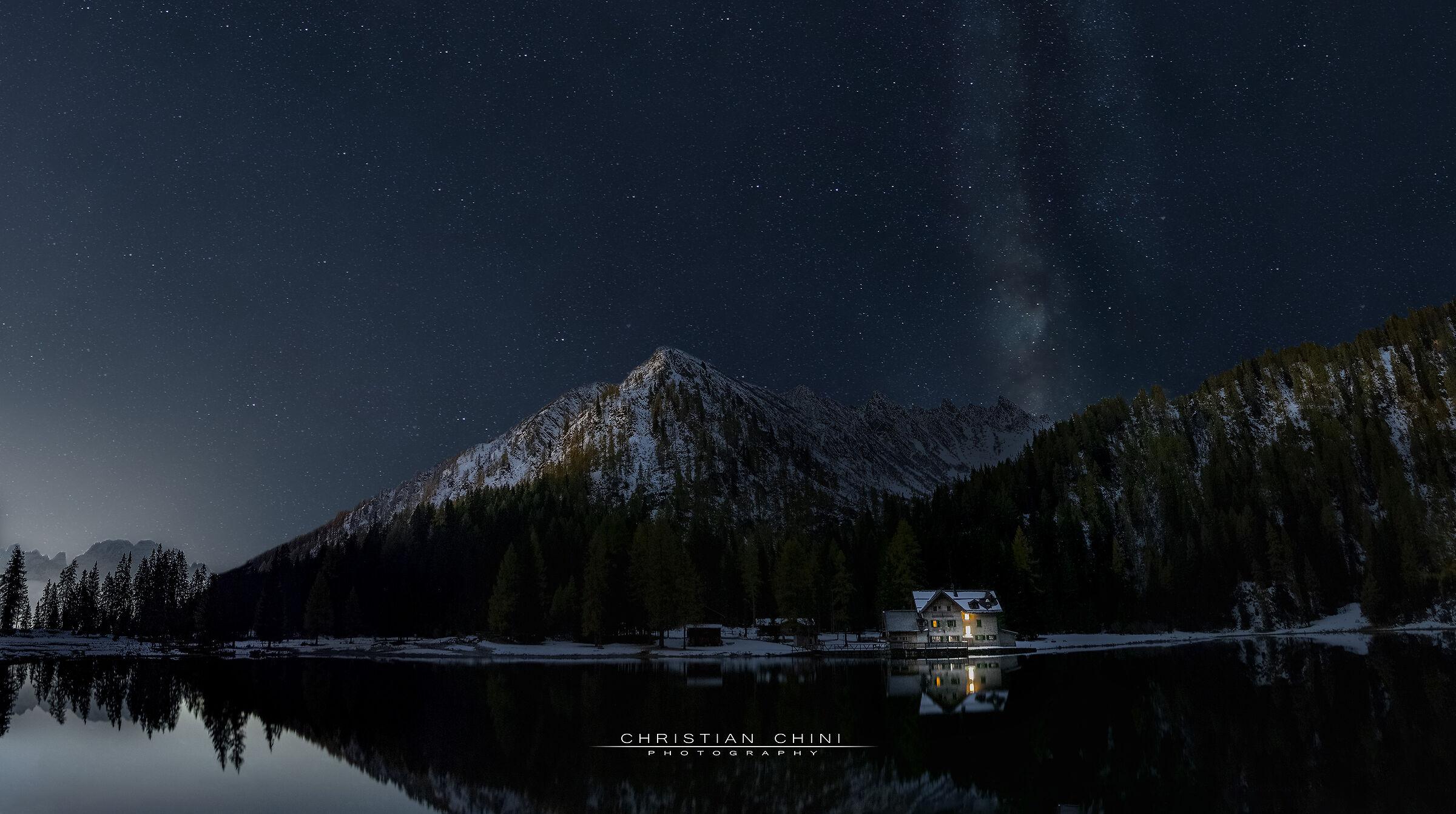 Night view lake Nambino...