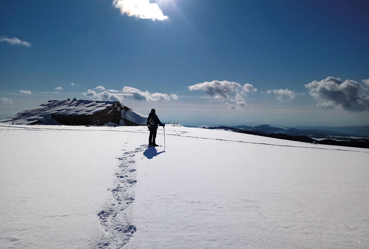 Walking with snowshoes...
