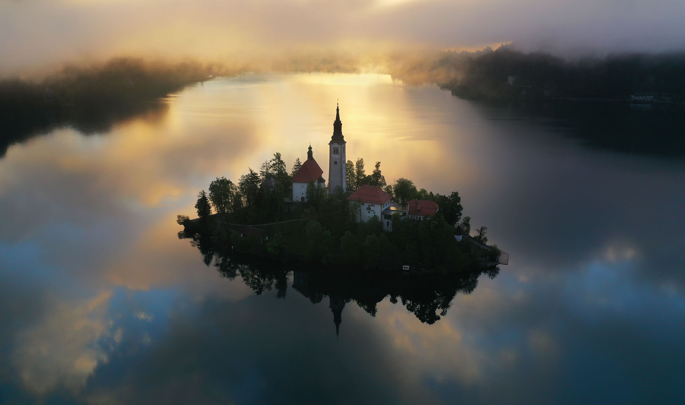 Aerial view of Lake Bled...