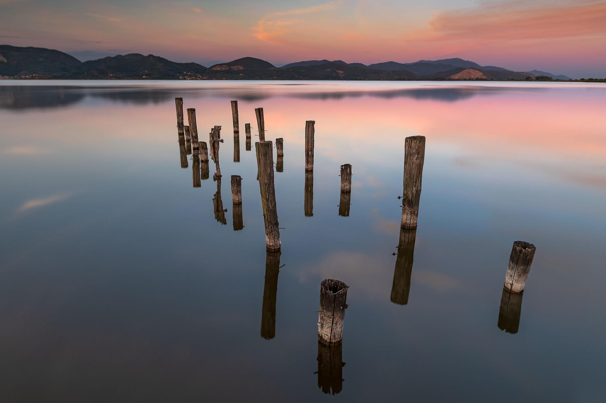 sunset at lake massaciucccoli...