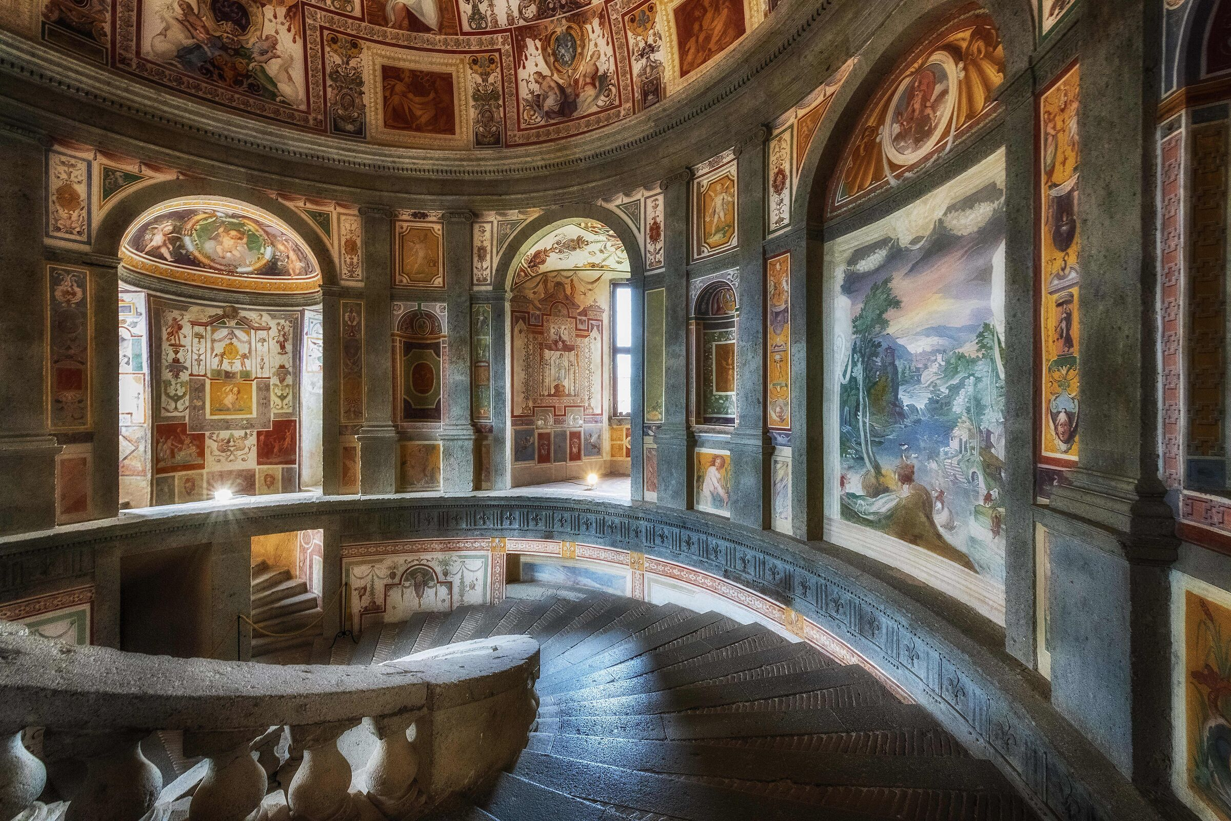 Farnese Palace, Caprarola (VT). Scala Regia department (Vignola)...
