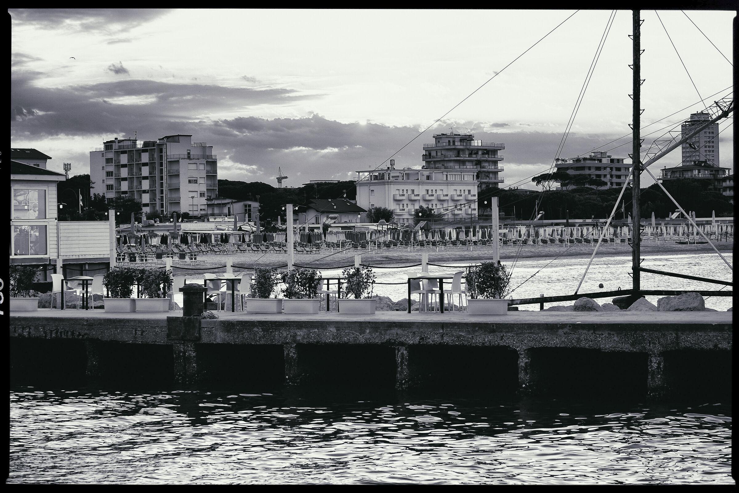 The port of Cervia vintage B/W...