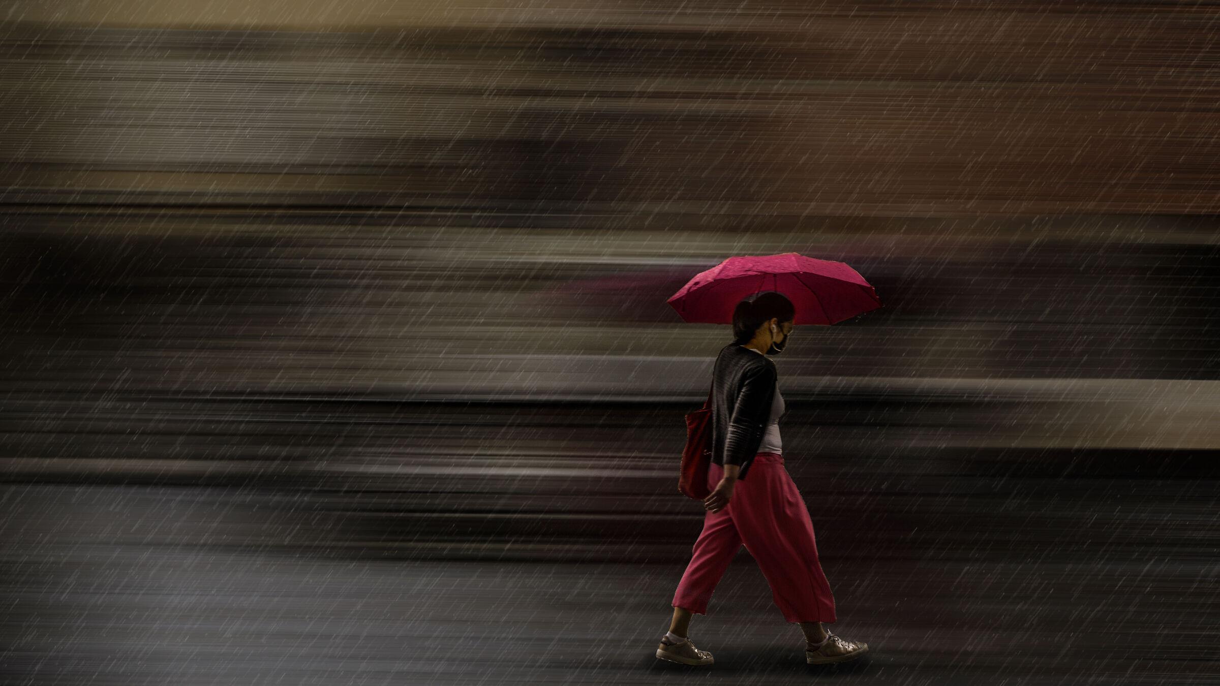 Alone in the rain...