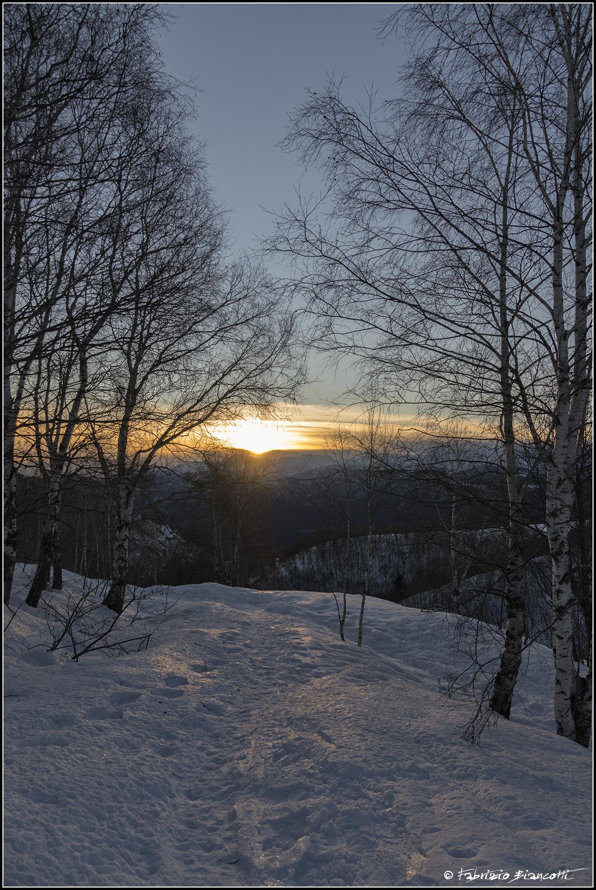 Mi mancavano i tramonti sulle ciaspole...