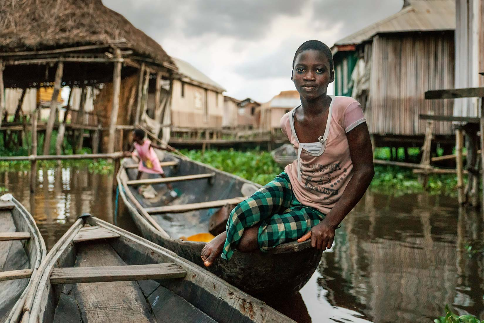 Near Ganvié, a village on stilt houses in southern Benin...