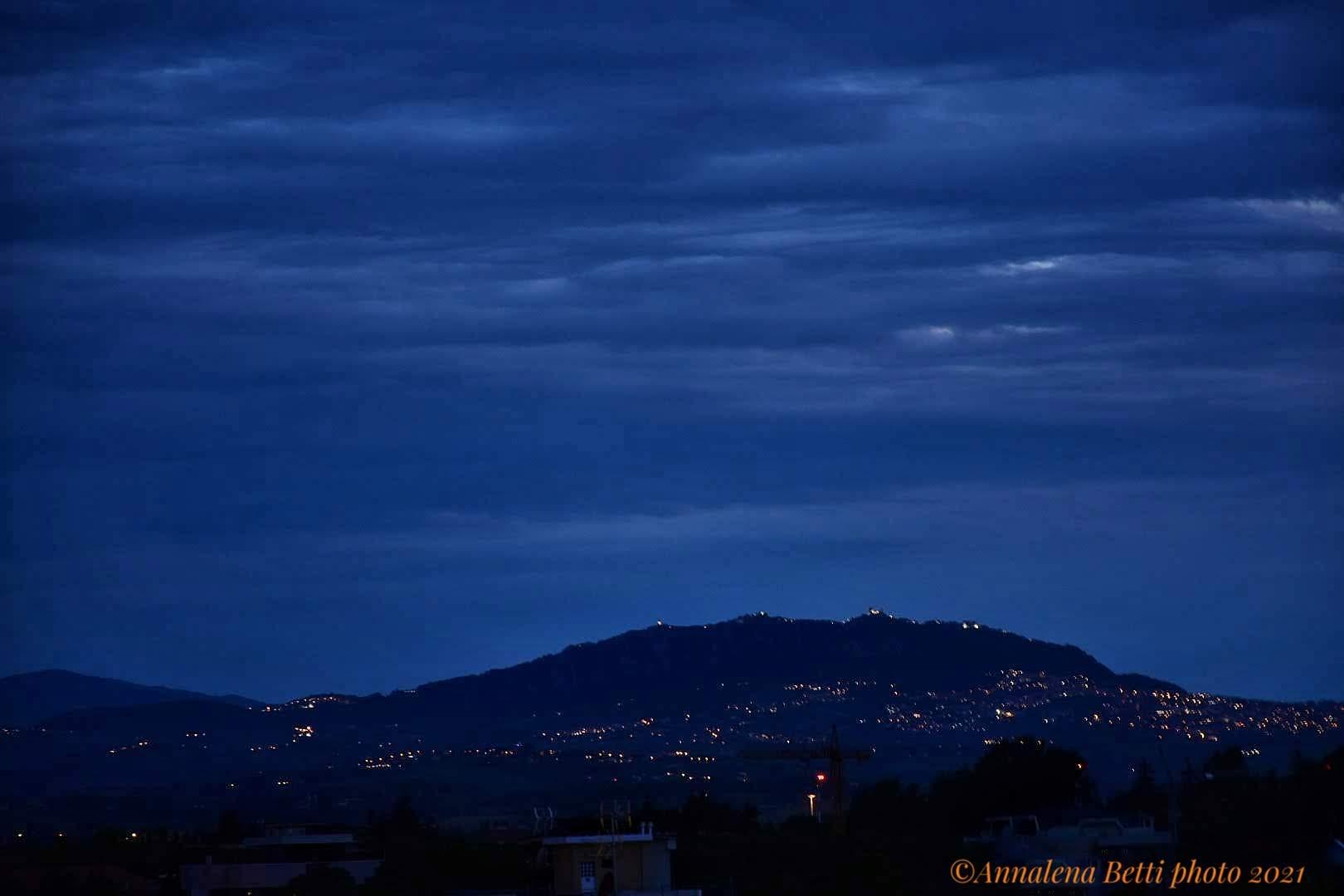 View of Mount Titano with San Marino da Riccione in pr...