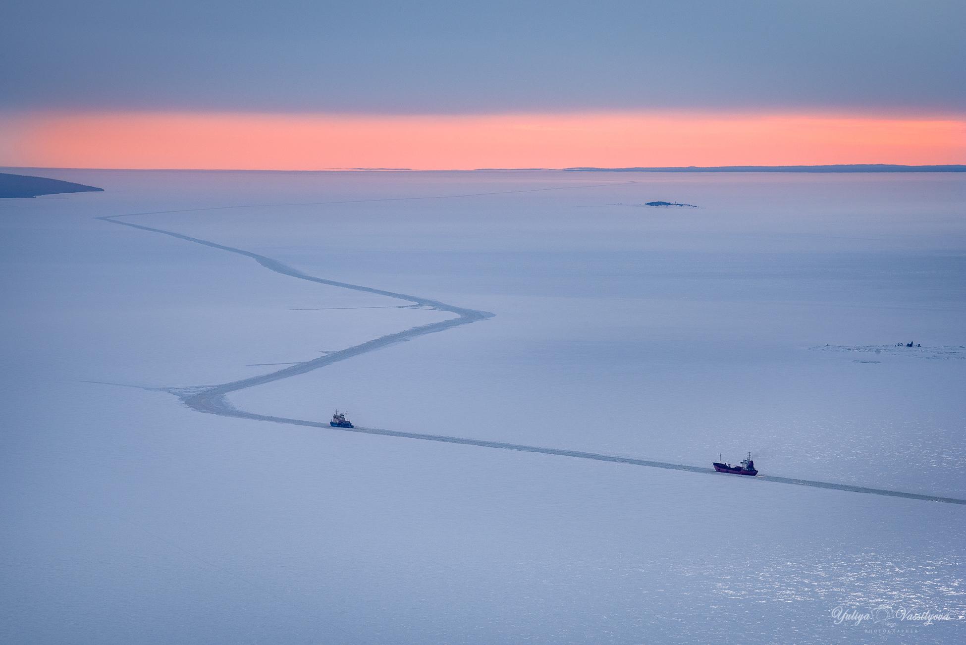 Frozen White Sea. Arctic Circle...